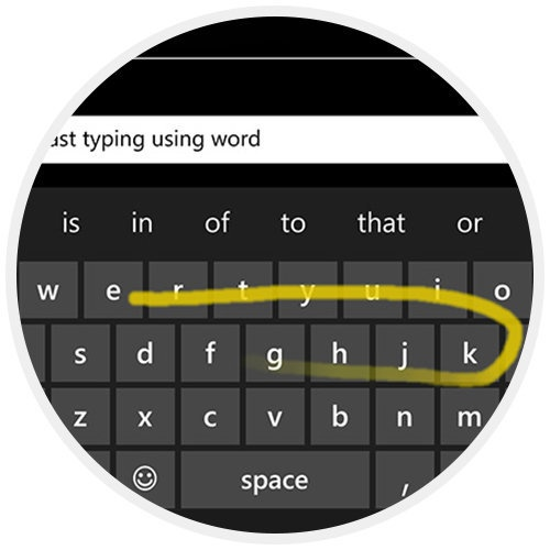 Teclado Word Flow do Microsoft Lumia 435 TV Dual